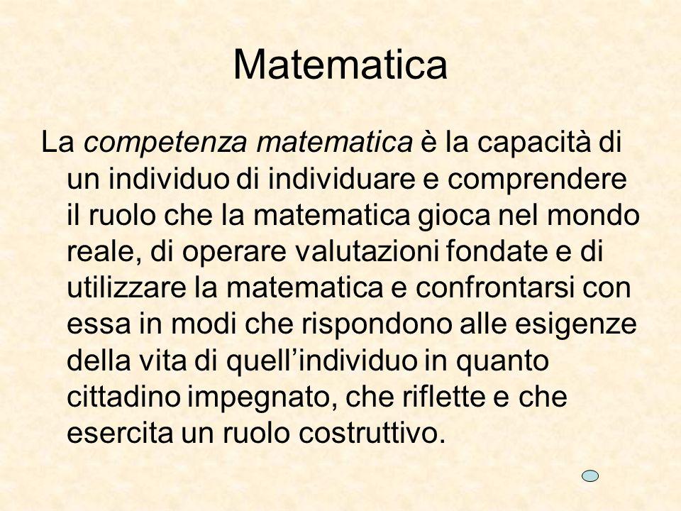Matematica La competenza matematica è la capacità di un individuo di individuare e comprendere il ruolo che la matematica gioca nel mondo reale, di operare valutazioni fondate e di utilizzare la matematica e confrontarsi con essa in modi che rispondono alle esigenze della vita di quellindividuo in quanto cittadino impegnato, che riflette e che esercita un ruolo costruttivo.