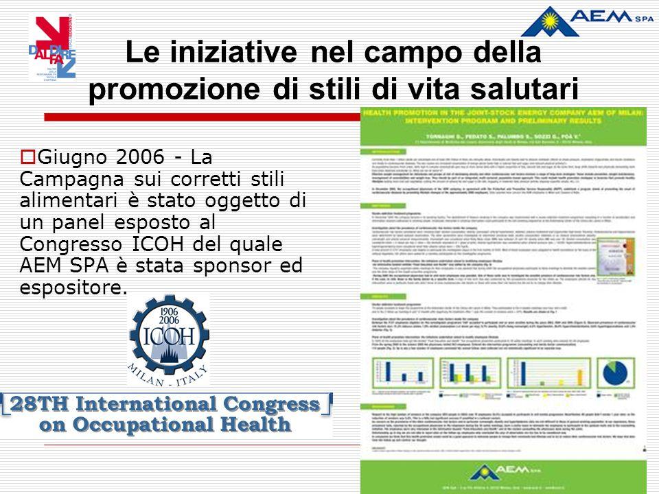 Giugno 2006 - La Campagna sui corretti stili alimentari è stato oggetto di un panel esposto al Congresso ICOH del quale AEM SPA è stata sponsor ed espositore.