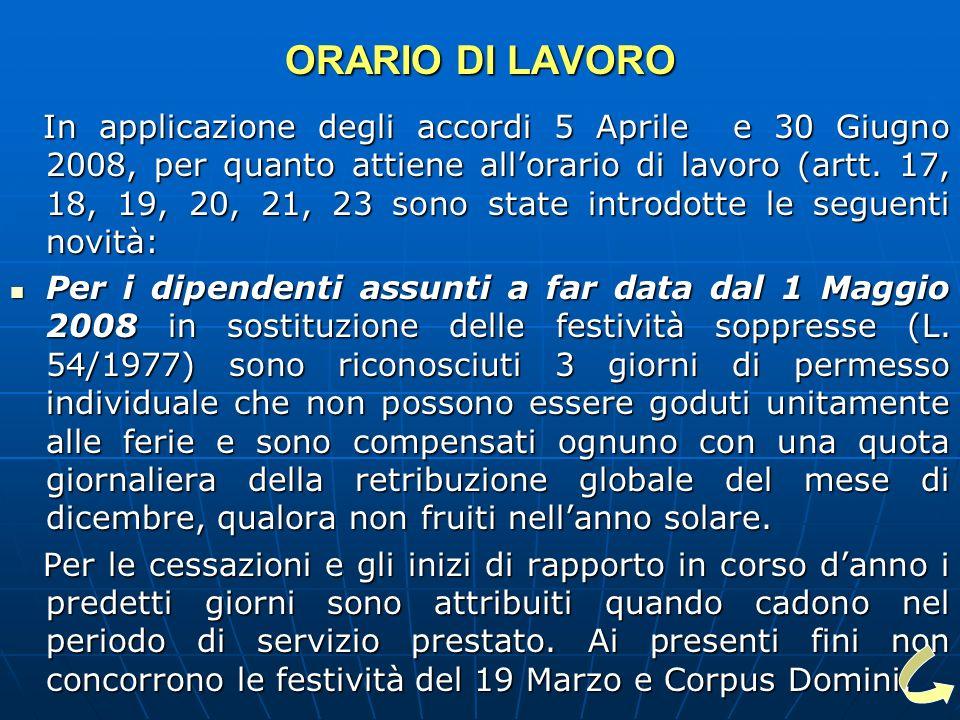 ORARIO DI LAVORO In applicazione degli accordi 5 Aprile e 30 Giugno 2008, per quanto attiene allorario di lavoro (artt.