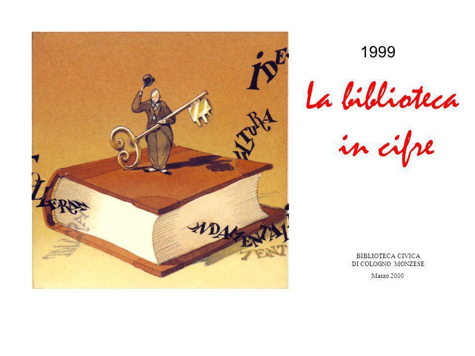 1999 La biblioteca in cifre BIBLIOTECA CIVICA DI COLOGNO MONZESE Marzo 2000