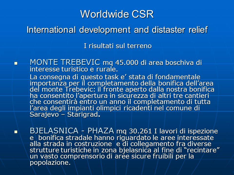 Worldwide CSR International development and distaster relief I risultati sul terreno MONTE TREBEVIC mq 45.000 di area boschiva di interesse turistico