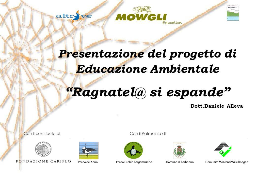 Presentazione del progetto di Educazione Ambientale Ragnatel@ si espande Dott.Daniele Alleva Con il contributo di Con il Patrocinio di Parco Orobie Be