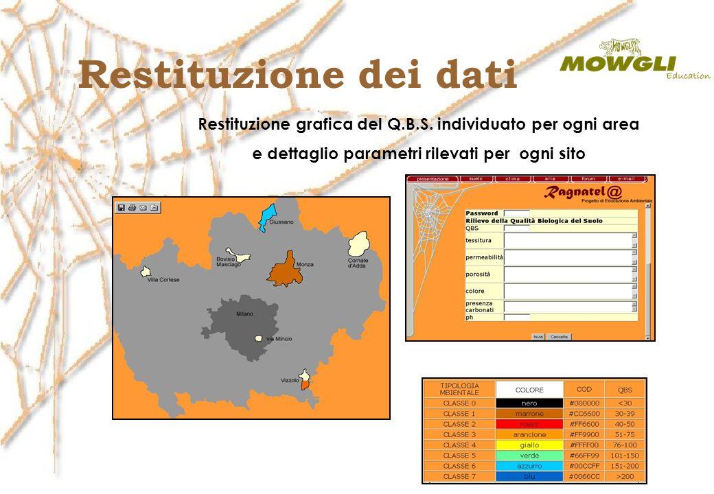 Restituzione grafica del Q.B.S. individuato per ogni area e dettaglio parametri rilevati per ogni sito Restituzione dei dati