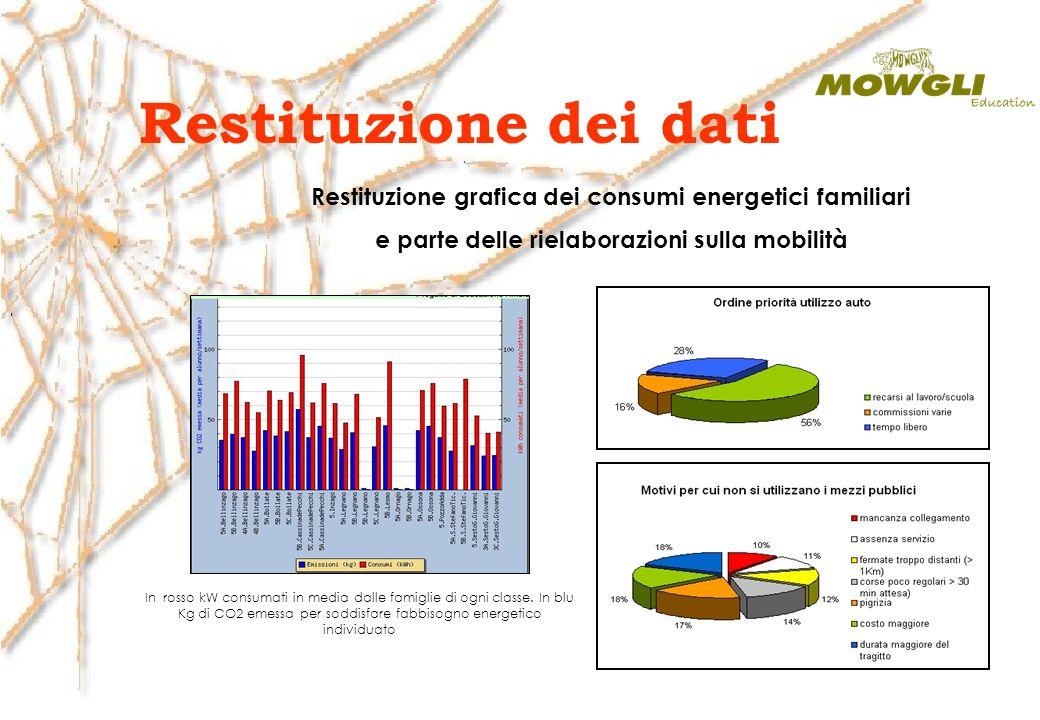 Restituzione dei dati Restituzione grafica dei consumi energetici familiari e parte delle rielaborazioni sulla mobilità In rosso kW consumati in media dalle famiglie di ogni classe.