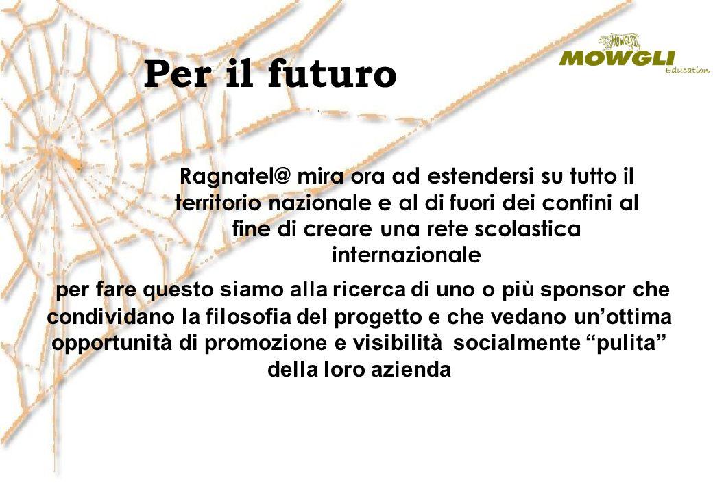 Per il futuro Ragnatel@ mira ora ad estendersi su tutto il territorio nazionale e al di fuori dei confini al fine di creare una rete scolastica intern