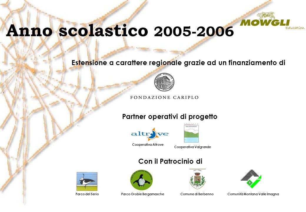 Anno scolastico 2005-2006 Estensione a carattere regionale grazie ad un finanziamento di Partner operativi di progetto Cooperativa Altrove Cooperativa
