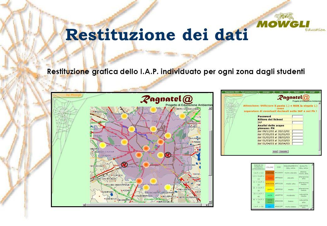 Restituzione dei dati Restituzione grafica dello I.A.P. individuato per ogni zona dagli studenti