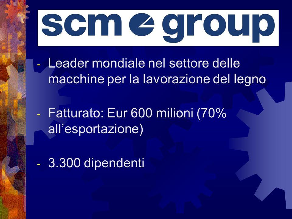 - Leader mondiale nel settore delle macchine per la lavorazione del legno - Fatturato: Eur 600 milioni (70% allesportazione) - 3.300 dipendenti