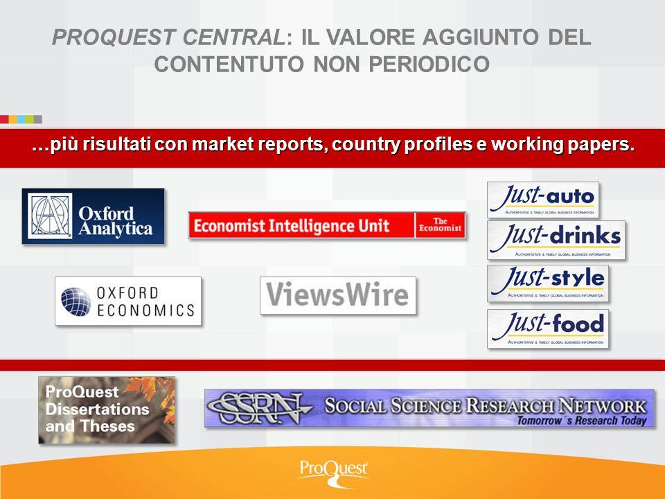 …più risultati con market reports, country profiles e working papers. PROQUEST CENTRAL: IL VALORE AGGIUNTO DEL CONTENTUTO NON PERIODICO