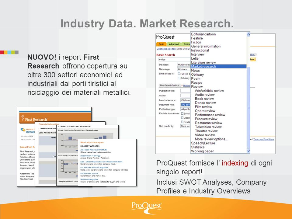 Industry Data.Market Research. NUOVO.