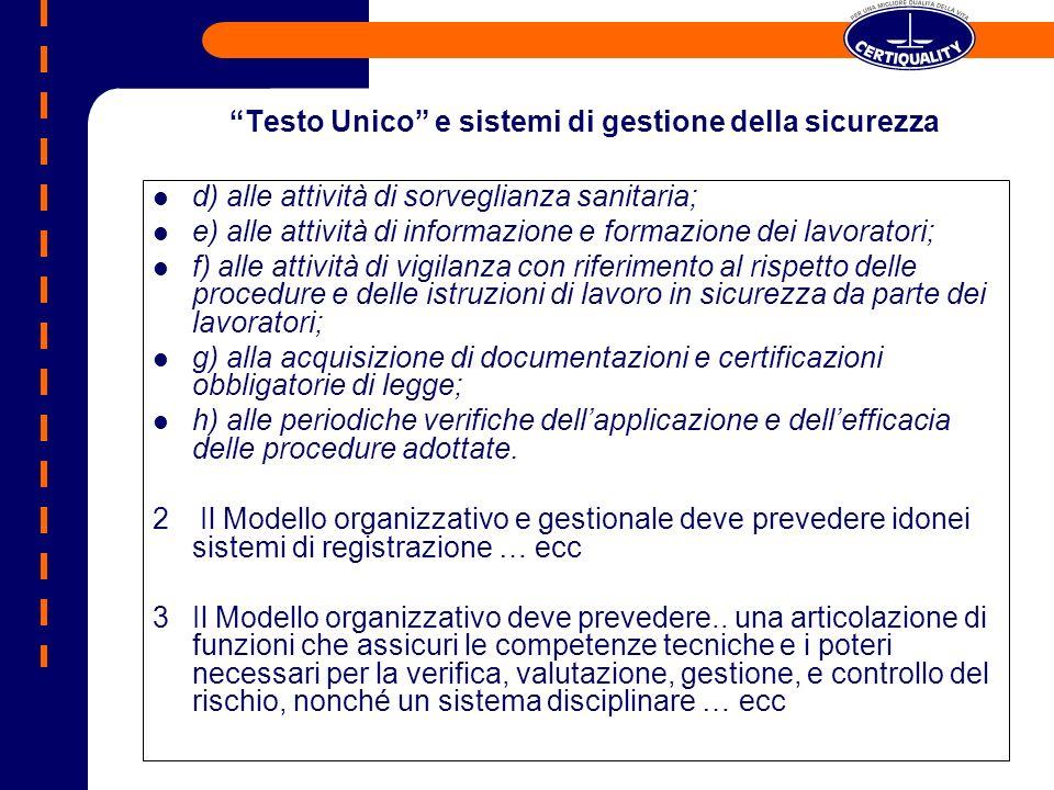 Requisiti Modello Organizzativo Requisiti OHSAS 18001:07 LOrganizzazione ha individuato i processi/attività sensibili esposti al rischio di commissione di reati.