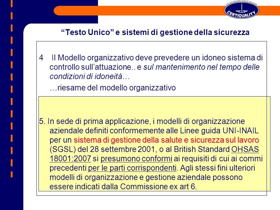 Testo Unico e sistemi di gestione della sicurezza 4 Il Modello organizzativo deve prevedere un idoneo sistema di controllo sullattuazione..