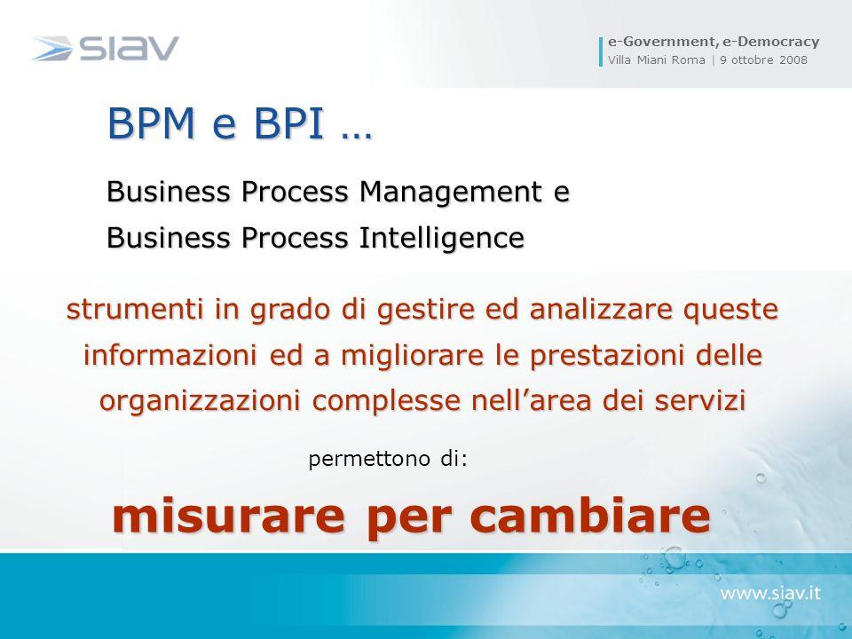 e-Government, e-Democracy Villa Miani Roma | 9 ottobre 2008 BPM e BPI … Business Process Management e Business Process Intelligence strumenti in grado di gestire ed analizzare queste informazioni ed a migliorare le prestazioni delle organizzazioni complesse nellarea dei servizi misurare per cambiare permettono di: