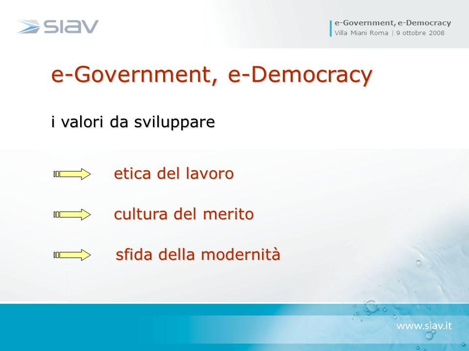 e-Government, e-Democracy Villa Miani Roma | 9 ottobre 2008 sfida della modernità sfida della modernità etica del lavoro cultura del merito e-Government, e-Democracy i valori da sviluppare