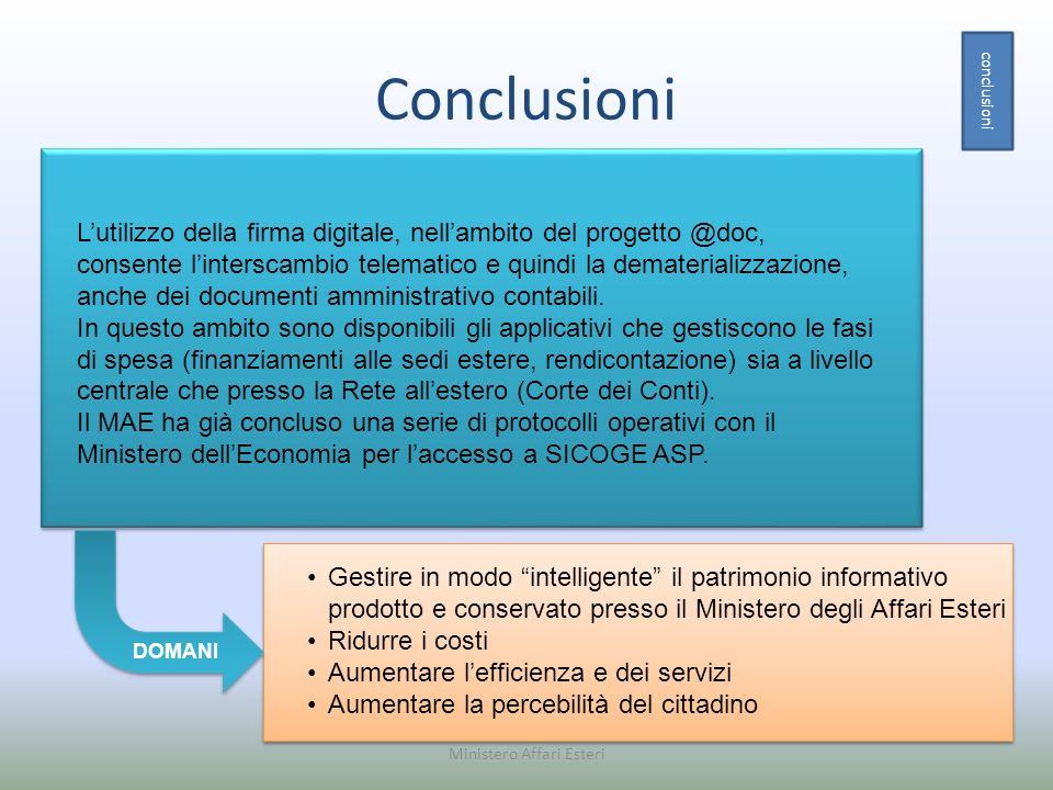 Conclusioni conclusioni Ministero Affari Esteri Gestire in modo intelligente il patrimonio informativo prodotto e conservato presso il Ministero degli