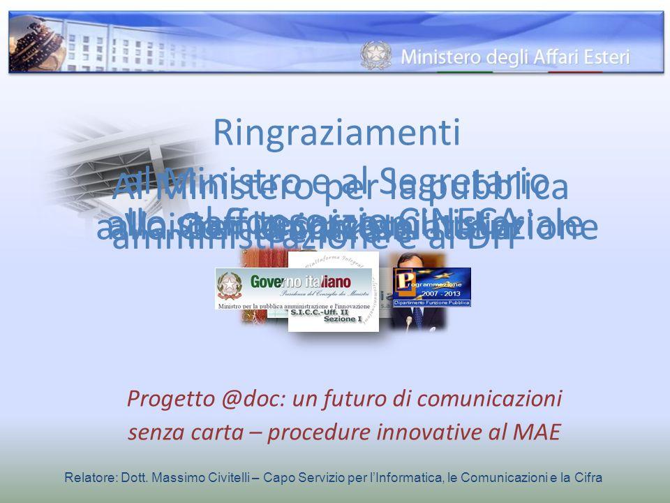 Progetto @doc: un futuro di comunicazioni senza carta – procedure innovative al MAE Relatore: Dott. Massimo Civitelli – Capo Servizio per lInformatica