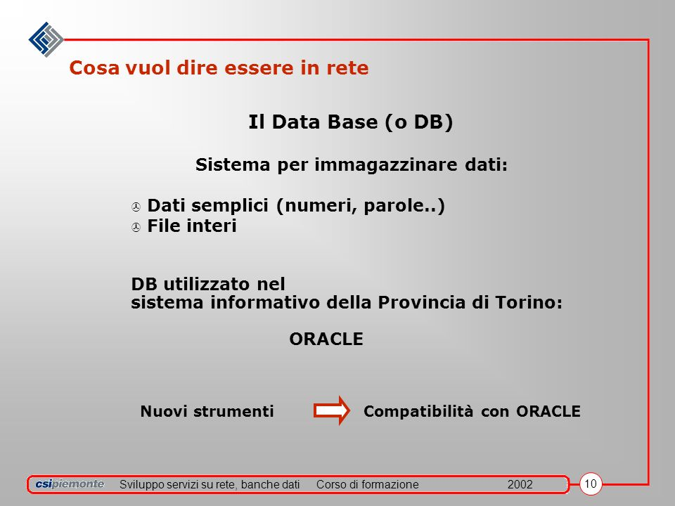Sviluppo servizi su rete, banche datiCorso di formazione2002 10 Cosa vuol dire essere in rete Nuovi strumenti Compatibilità con ORACLE Il Data Base (o DB) Sistema per immagazzinare dati: > Dati semplici (numeri, parole..) > File interi DB utilizzato nel sistema informativo della Provincia di Torino: ORACLE
