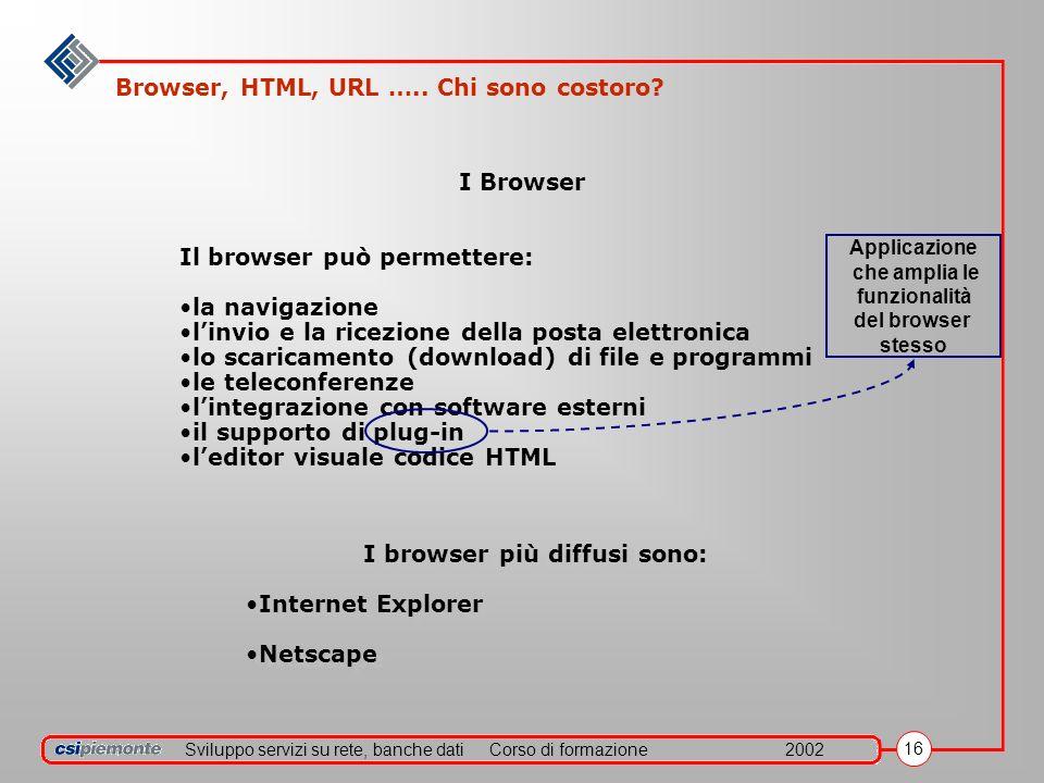 Sviluppo servizi su rete, banche datiCorso di formazione2002 16 Il browser può permettere: la navigazione linvio e la ricezione della posta elettronica lo scaricamento (download) di file e programmi le teleconferenze lintegrazione con software esterni il supporto di plug-in leditor visuale codice HTML I Browser I browser più diffusi sono: Internet Explorer Netscape I browser più diffusi sono: Internet Explorer Netscape Applicazione che amplia le funzionalità del browser stesso Browser, HTML, URL …..