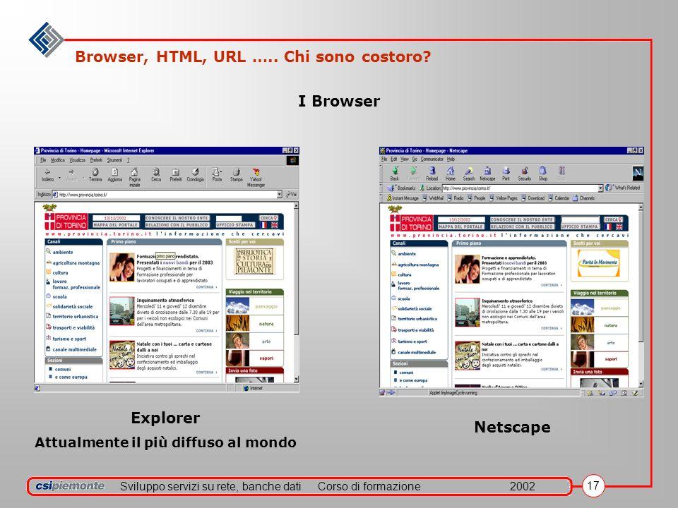 Sviluppo servizi su rete, banche datiCorso di formazione2002 17 I Browser Explorer Attualmente il più diffuso al mondo Netscape Browser, HTML, URL …..