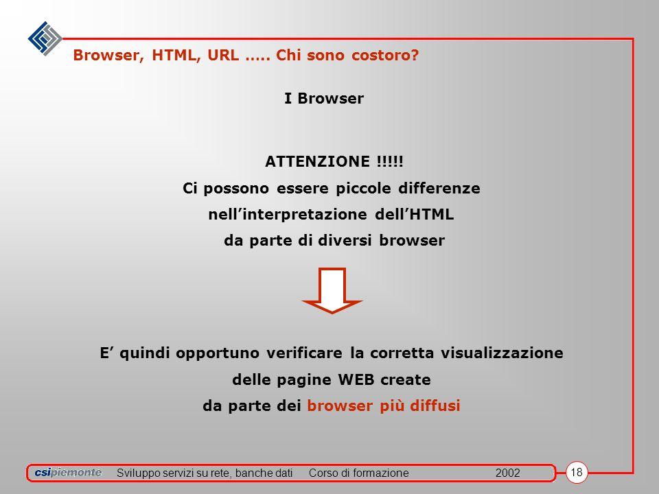 Sviluppo servizi su rete, banche datiCorso di formazione2002 18 I Browser ATTENZIONE !!!!! Ci possono essere piccole differenze nellinterpretazione de
