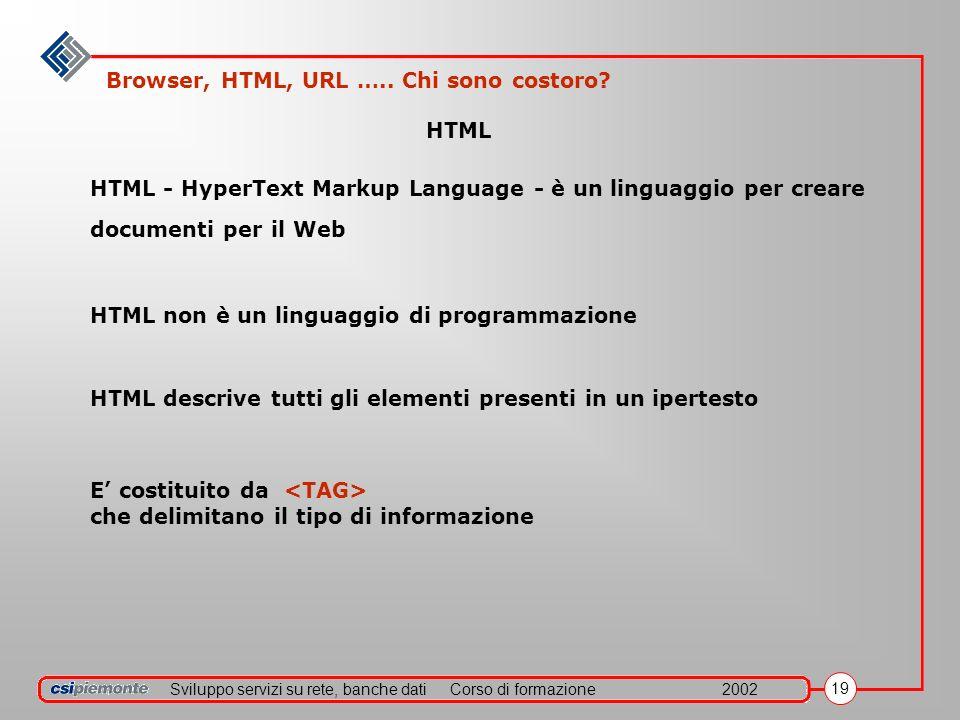 Sviluppo servizi su rete, banche datiCorso di formazione2002 19 E costituito da che delimitano il tipo di informazione HTML HTML - HyperText Markup Language - è un linguaggio per creare documenti per il Web HTML non è un linguaggio di programmazione HTML descrive tutti gli elementi presenti in un ipertesto Browser, HTML, URL …..