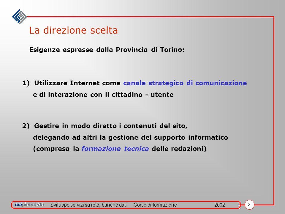 Sviluppo servizi su rete, banche datiCorso di formazione2002 2 La direzione scelta Esigenze espresse dalla Provincia di Torino: 1) Utilizzare Internet
