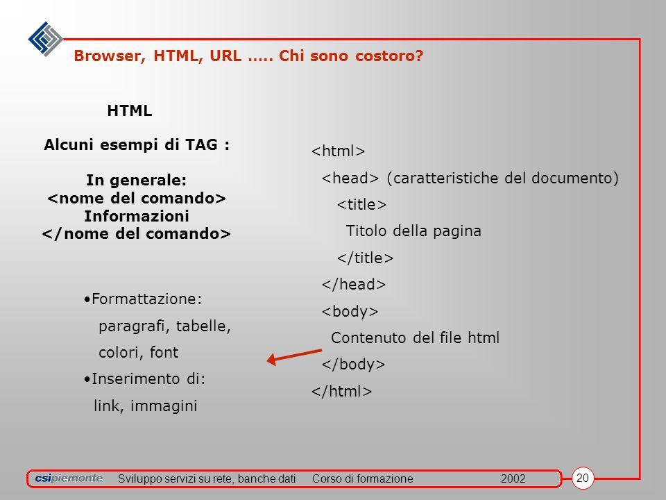 Sviluppo servizi su rete, banche datiCorso di formazione2002 20 Alcuni esempi di TAG : In generale: Informazioni HTML Formattazione: paragrafi, tabelle, colori, font Inserimento di: link, immagini (caratteristiche del documento) Titolo della pagina Contenuto del file html Browser, HTML, URL …..