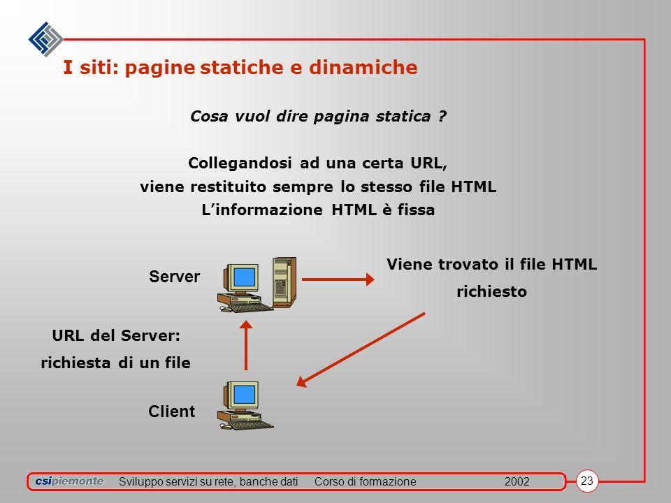 Sviluppo servizi su rete, banche datiCorso di formazione2002 23 I siti: pagine statiche e dinamiche Cosa vuol dire pagina statica ? Collegandosi ad un