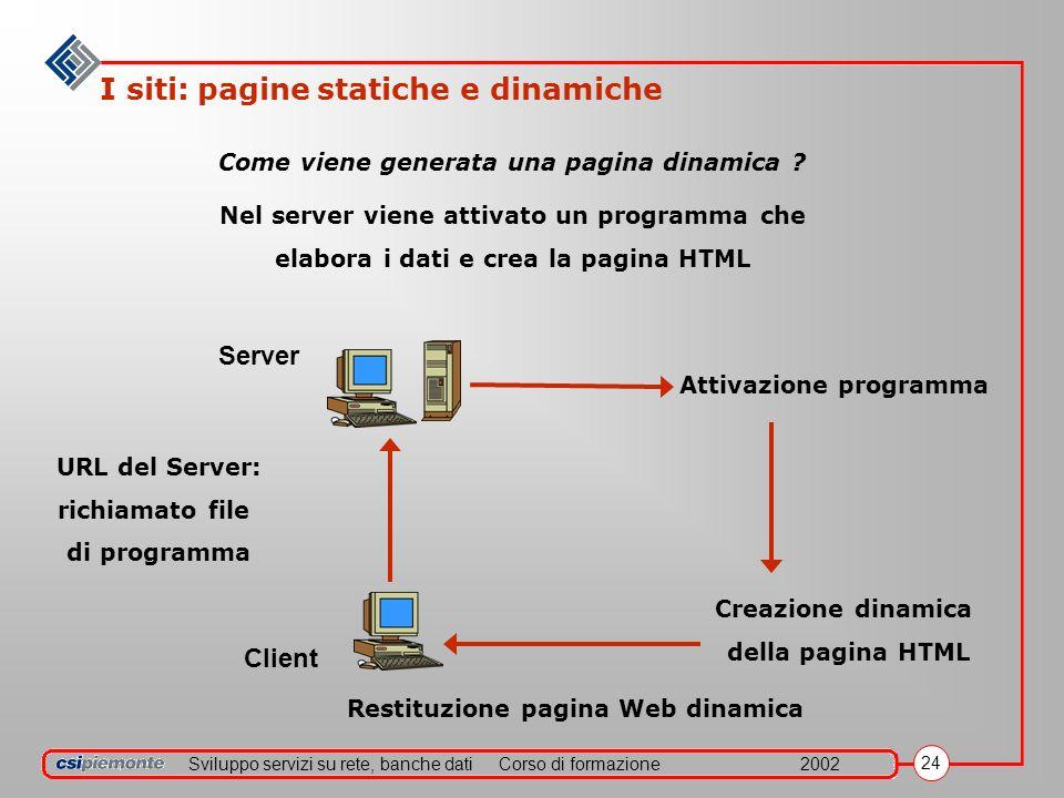 Sviluppo servizi su rete, banche datiCorso di formazione2002 24 I siti: pagine statiche e dinamiche Come viene generata una pagina dinamica ? Nel serv
