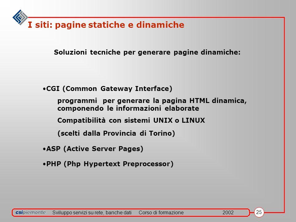 Sviluppo servizi su rete, banche datiCorso di formazione2002 25 I siti: pagine statiche e dinamiche CGI (Common Gateway Interface) programmi per gener