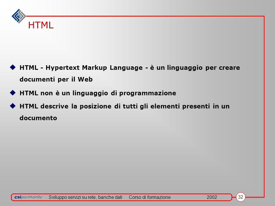 Sviluppo servizi su rete, banche datiCorso di formazione2002 32 HTML HTML - Hypertext Markup Language - è un linguaggio per creare documenti per il Web HTML non è un linguaggio di programmazione HTML descrive la posizione di tutti gli elementi presenti in un documento