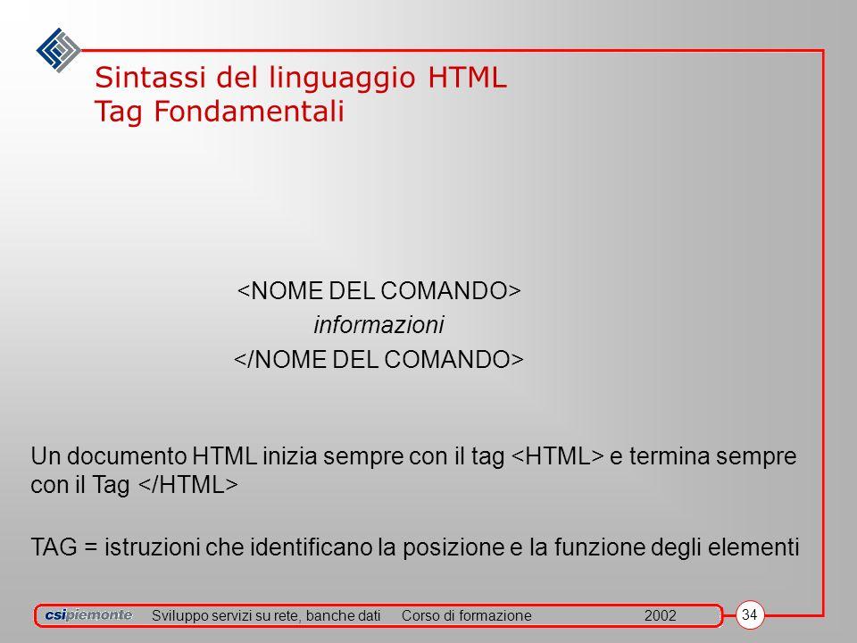 Sviluppo servizi su rete, banche datiCorso di formazione2002 34 informazioni Un documento HTML inizia sempre con il tag e termina sempre con il Tag TAG = istruzioni che identificano la posizione e la funzione degli elementi Sintassi del linguaggio HTML Tag Fondamentali