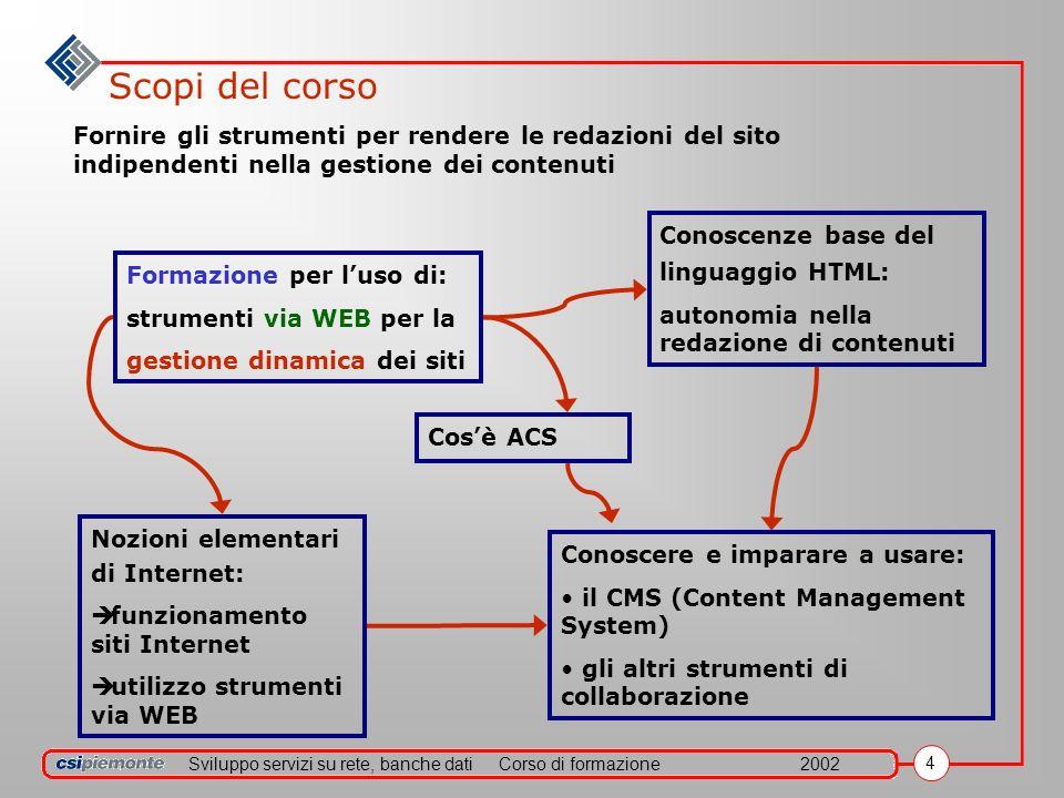 Sviluppo servizi su rete, banche datiCorso di formazione2002 4 Scopi del corso Formazione per luso di: strumenti via WEB per la gestione dinamica dei