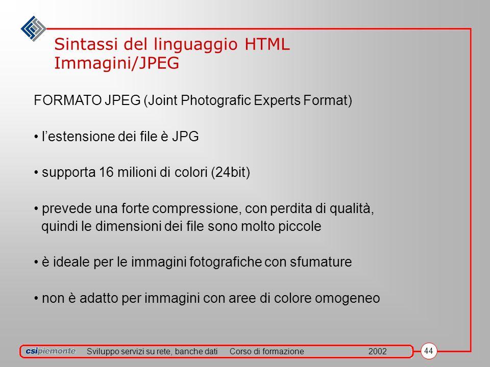 Sviluppo servizi su rete, banche datiCorso di formazione2002 44 Sintassi del linguaggio HTML Immagini/JPEG FORMATO JPEG (Joint Photografic Experts Format) lestensione dei file è JPG supporta 16 milioni di colori (24bit) prevede una forte compressione, con perdita di qualità, quindi le dimensioni dei file sono molto piccole è ideale per le immagini fotografiche con sfumature non è adatto per immagini con aree di colore omogeneo