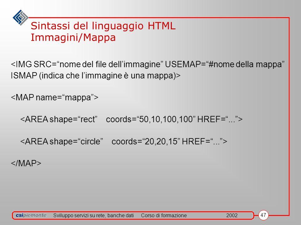Sviluppo servizi su rete, banche datiCorso di formazione2002 47 Sintassi del linguaggio HTML Immagini/Mappa