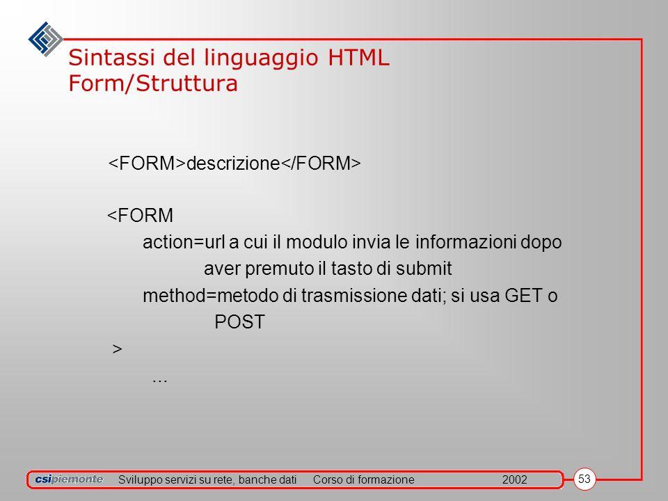 Sviluppo servizi su rete, banche datiCorso di formazione2002 53 Sintassi del linguaggio HTML Form/Struttura descrizione <FORM action=url a cui il modu