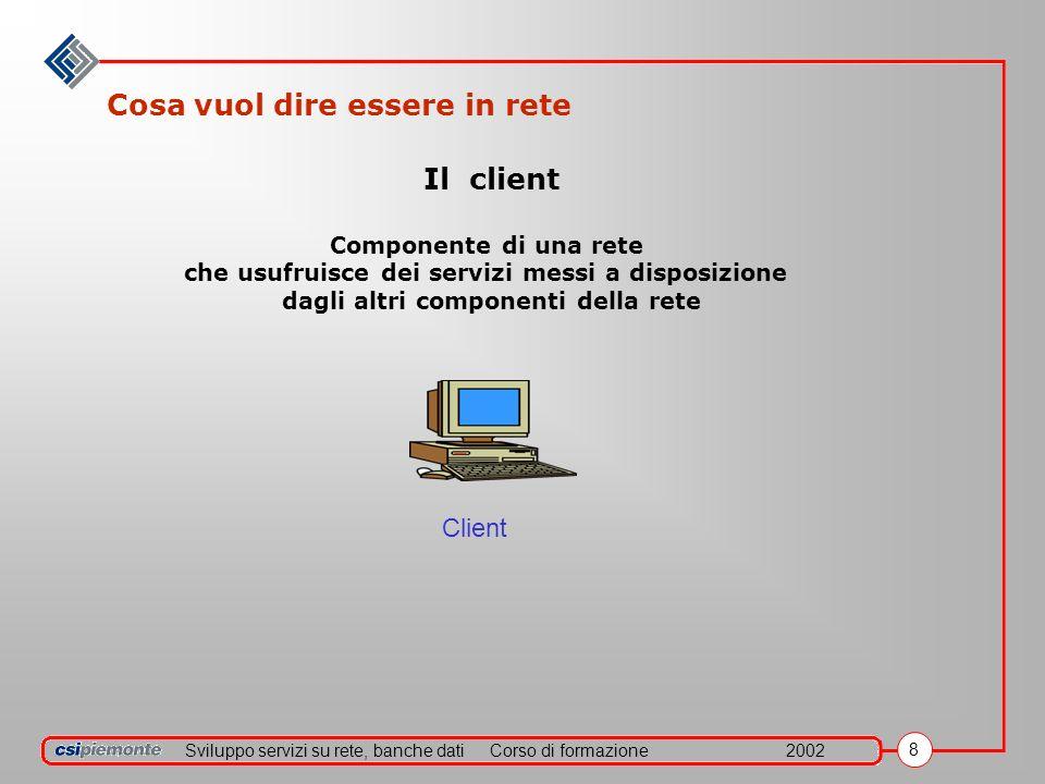 Sviluppo servizi su rete, banche datiCorso di formazione2002 8 Cosa vuol dire essere in rete Client Il client Componente di una rete che usufruisce dei servizi messi a disposizione dagli altri componenti della rete