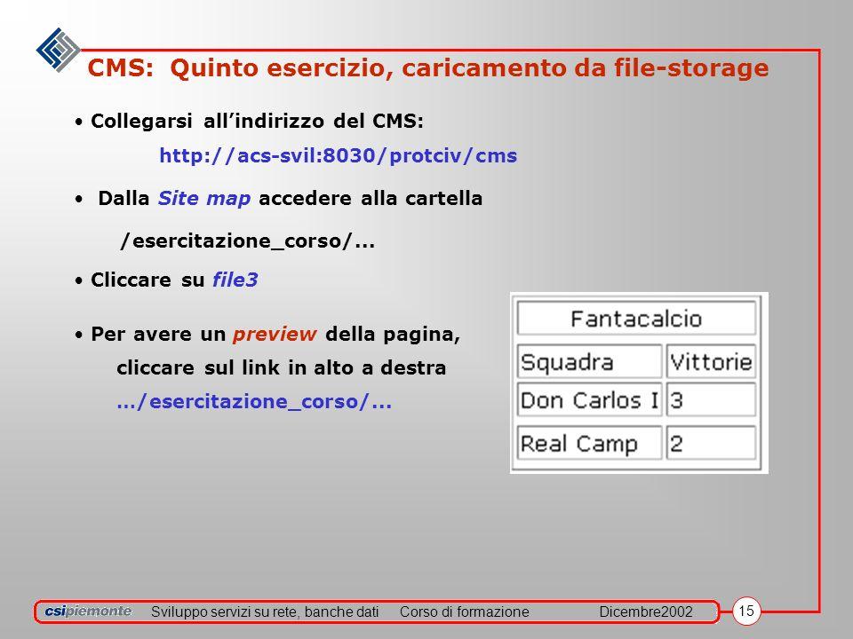 Sviluppo servizi su rete, banche datiCorso di formazioneDicembre2002 15 CMS: Quinto esercizio, caricamento da file-storage Collegarsi allindirizzo del CMS: http://acs-svil:8030/protciv/cms Dalla Site map accedere alla cartella /esercitazione_corso/...