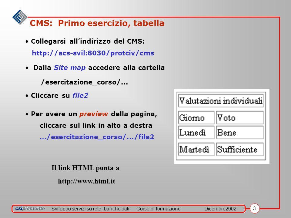 Sviluppo servizi su rete, banche datiCorso di formazioneDicembre2002 3 CMS: Primo esercizio, tabella Collegarsi allindirizzo del CMS: http://acs-svil:8030/protciv/cms Dalla Site map accedere alla cartella /esercitazione_corso/...