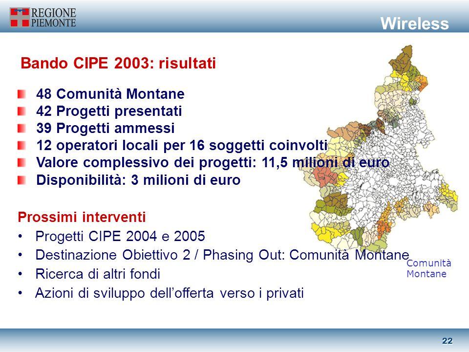 21 Tecnologie wireless per: accesso a larga banda di soggetti pubblici e privati delle aree decentrate (aree montane e rurali, aree ob.