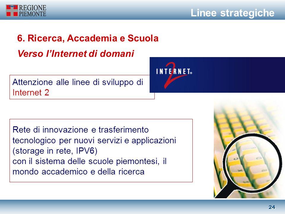 23 Interconnessione ad alta velocità verso i punti di maggior concentrazione di operatori e risorse Internet in Italia e in Europa 5.