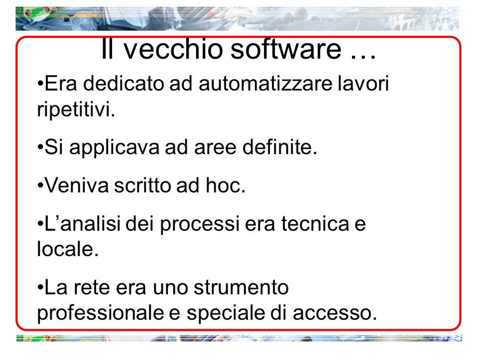 Il vecchio software… Era dedicato ad automatizzare lavori ripetitivi. Si applicava ad aree definite. Veniva scritto ad hoc. Lanalisi dei processi era