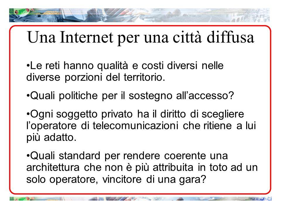 Le reti hanno qualità e costi diversi nelle diverse porzioni del territorio. Quali politiche per il sostegno allaccesso? Ogni soggetto privato ha il d