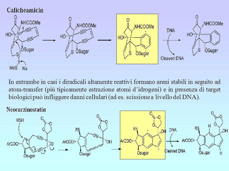 In entrambe in casi i diradicali altamente reattivi formano areni stabili in seguito ad atom-transfer (più tipicamente estrazione atomi didrogeni) e i