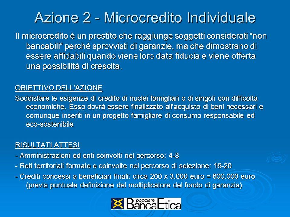 Azione 2 - Microcredito Individuale Il microcredito è un prestito che raggiunge soggetti considerati non bancabili perché sprovvisti di garanzie, ma che dimostrano di essere affidabili quando viene loro data fiducia e viene offerta una possibilità di crescita.
