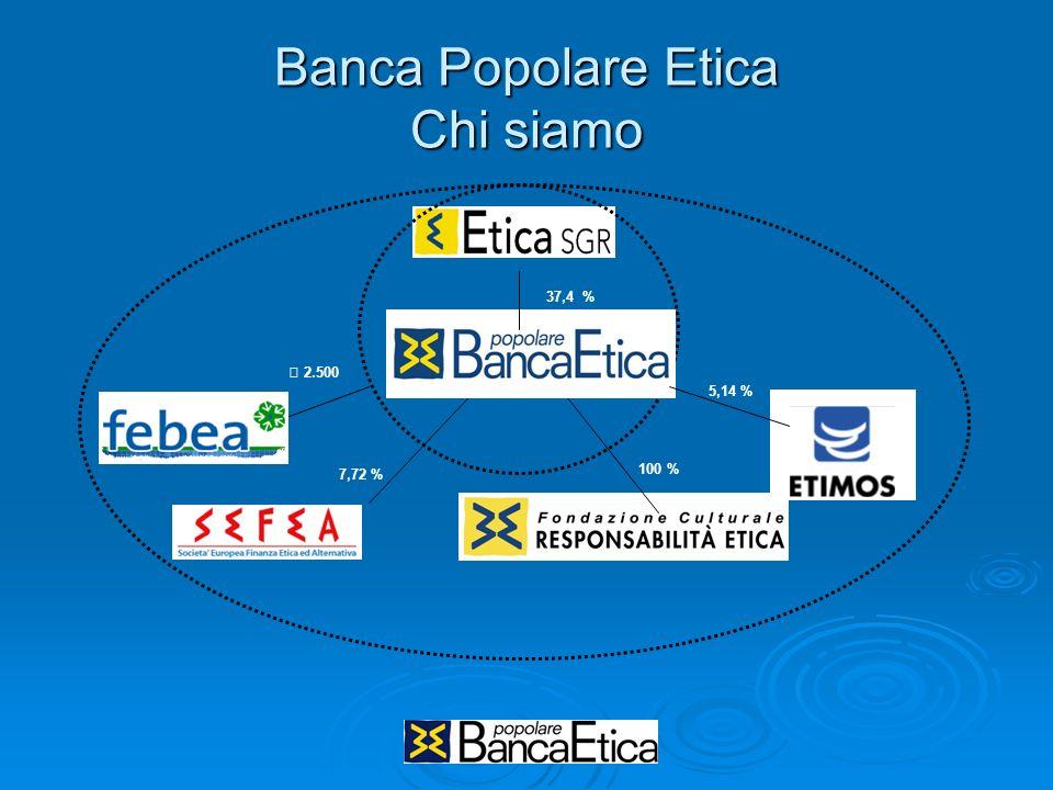 Banca Popolare Etica Chi siamo 37,4 % € 2.500 7,72 % 5,14 % 100 %