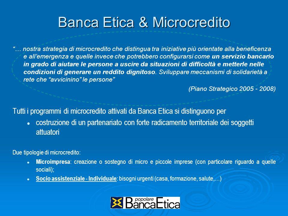 Banca Etica & Microcredito … nostra strategia di microcredito che distingua tra iniziative più orientate alla beneficenza e allemergenza e quelle inve