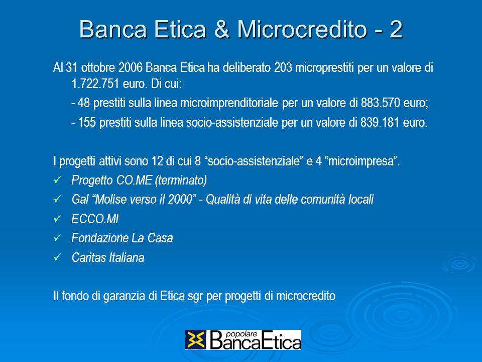 Banca Etica & Microcredito - 2 Al 31 ottobre 2006 Banca Etica ha deliberato 203 microprestiti per un valore di 1.722.751 euro. Di cui: - 48 prestiti s