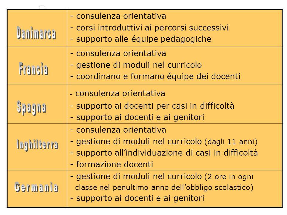 - consulenza orientativa - corsi introduttivi ai percorsi successivi - supporto alle équipe pedagogiche - consulenza orientativa - gestione di moduli