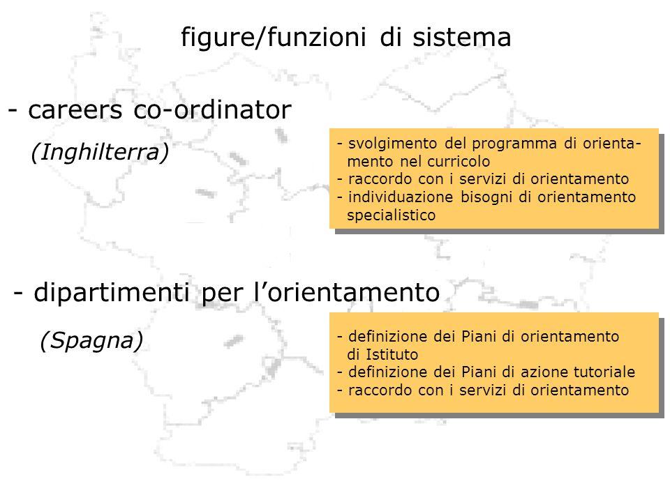 figure/funzioni di sistema - careers co-ordinator (Inghilterra) - dipartimenti per lorientamento (Spagna) - svolgimento del programma di orienta- ment